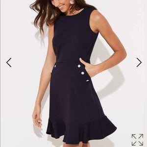 NWT Loft petite button pocket flounce dress